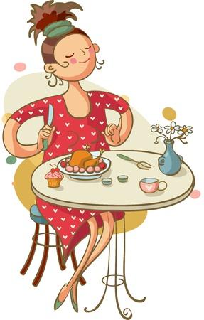 カフェでランチを食べる若い女性