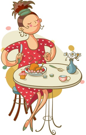 woman eat: Mujer joven que come el almuerzo en la cafeter�a Vectores