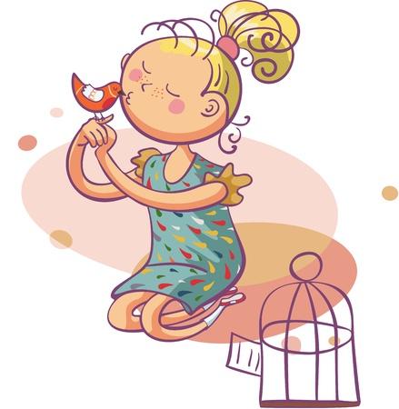 little bird sitting on girls finger and she gives the bird a little kiss. vector illustration