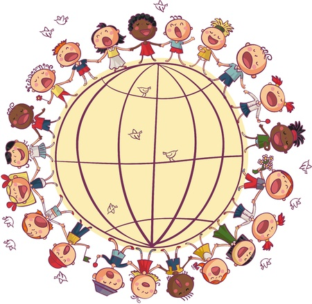 Kids is dancing and singing in circle around world Vector