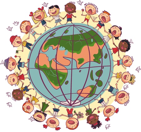 children circle: Kids is dancing and singing in circle around earth