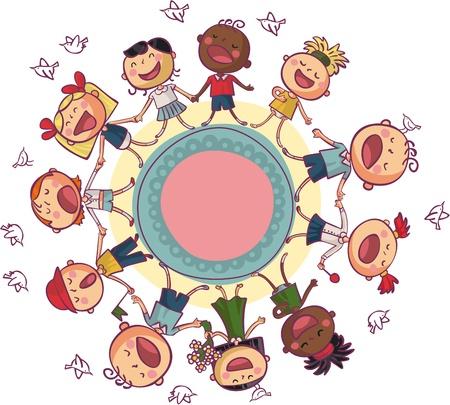 persona cantando: Los niños del mundo está bailando y cantando en el círculo Vectores