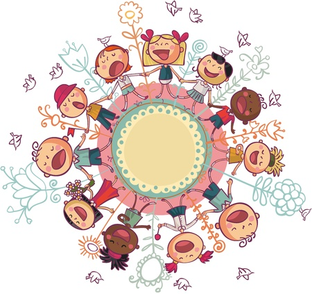 Los niños del mundo están bailando y cantando en círculo. Ilustración de vector