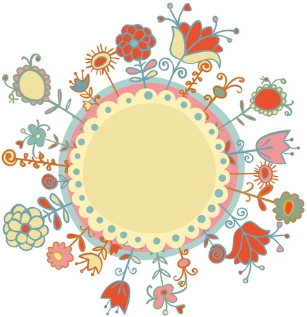 Flowers in circle illustration Illustration