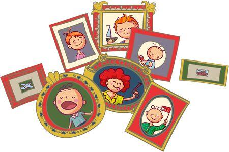 Boys portraits in frames Illustration