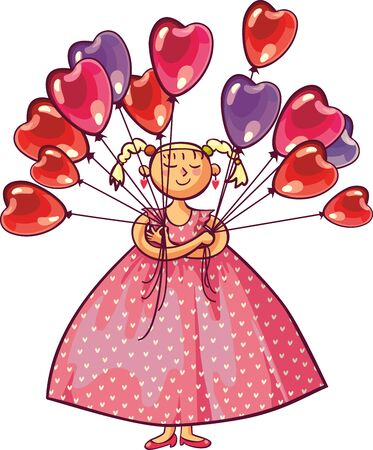 Valentines day, wedding gift greeting card. Love young woman smiling holding many red heart shaped balloons. Illustration