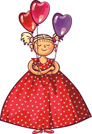 Valentines day, wedding gift greeting card. Love woman smiling holding red heart shaped balloons. Illustration