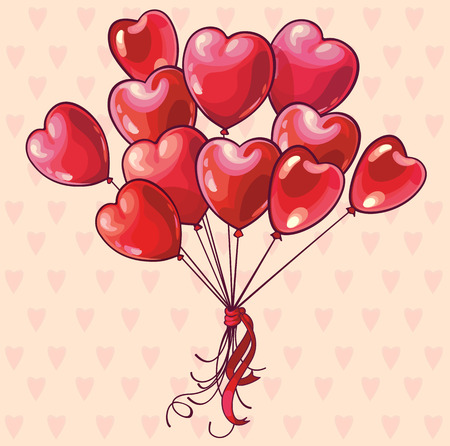 Heart shaped baloons. Valentines day, wedding or birthday greeting card.