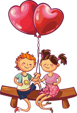 Romantic playful teens couple are sitting with heart shaped balloons. Illustration