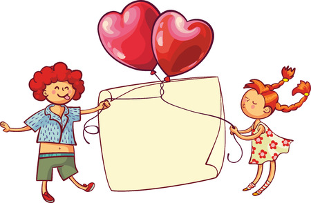 Love relationship and dating concept. Romantic playful couple holding heart shaped balloons. Valentines day greeting card. Love is Illustration
