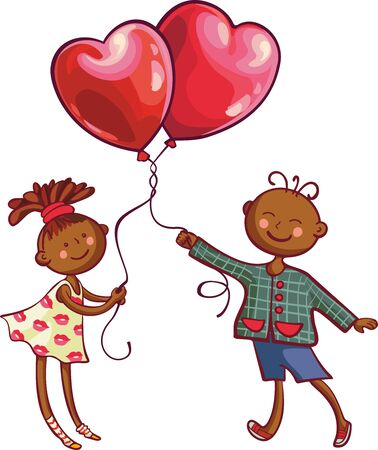 African boy and girl holding heart shaped balloons. Valentines day greeting card Illustration