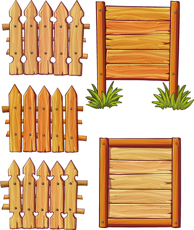 Vector wooden fences set isolated on white background
