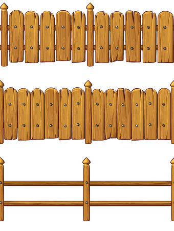 Vector wood fences set isolated on white background Illustration