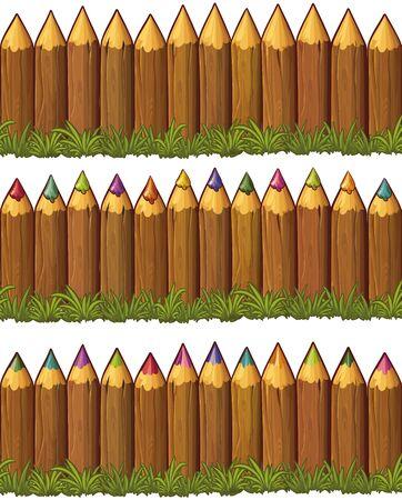 stockade: Vector wood stockade fences set isolated on white background