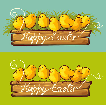 Easter chicks sitting on wooden ribbon banner. Happy Easter greeting card Illustration