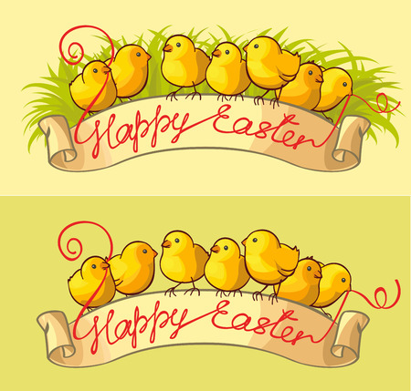 Happy Easter greeting card. Easter chicks sitting on ribbon banner with Happy Easter text.