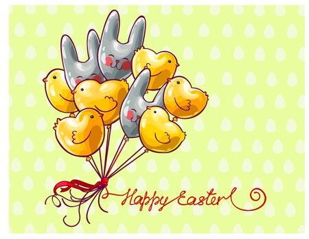 Vector Easter chicks and bunnies shaped air balloons, Happy Easter text Illustration