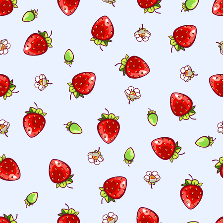 Seamless strawberry polka dot pattern on blue background