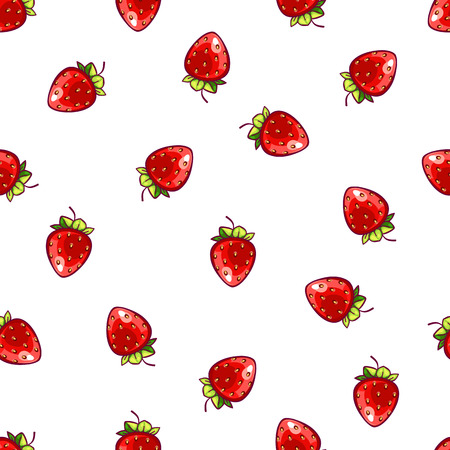 Seamless strawberry polka dot pattern