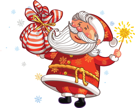 Vector Christmas and New Year greeting card. Canta Claus with magic wand