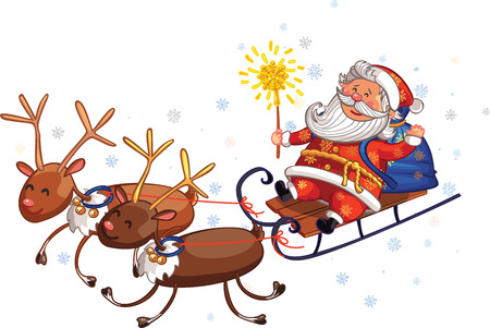Vector Christmas and New Year greeting card. Canta Claus is riding deers with gifts