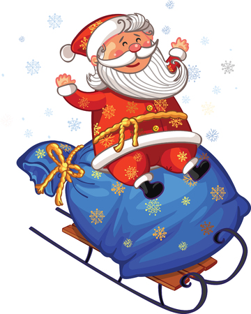 Vector Christmas and New Year greeting card. Canta Claus is riding sleds with gifts Illustration
