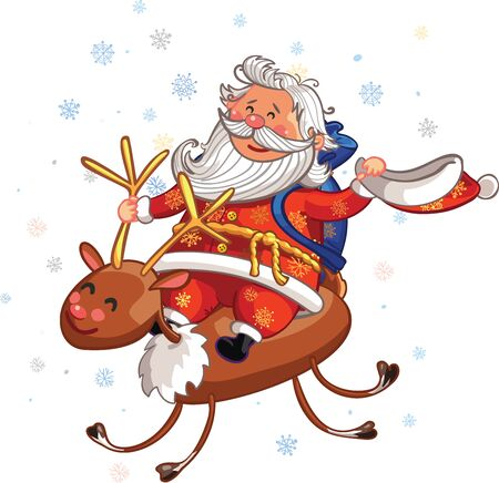 Vector Christmas and New Year greeting card. Canta Claus is riding deer with gifts
