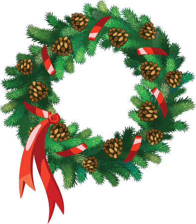 Vector Xmas wreath with  pine-cones and red ribbon isolated on white