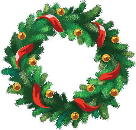Vector Xmas wreath with bells and red ribbon isolated on white