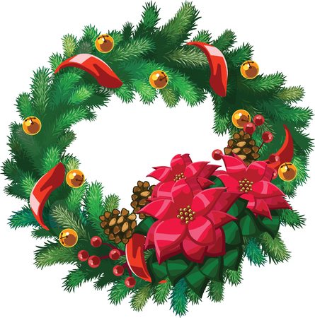 Vector Xmas wreath with flowers, bells, pine-cones and red ribbon