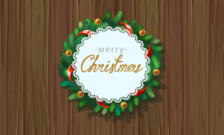 Merry Christmas greetings vector illustration. Xmas wreath with greeting message on background from christmas tree branches. Christmas wreath on wooden background