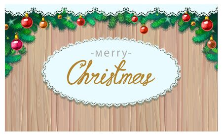 Merry Christmas greetings vector illustration. Merry Christmas greeting message on wooden background with christmas tree branches