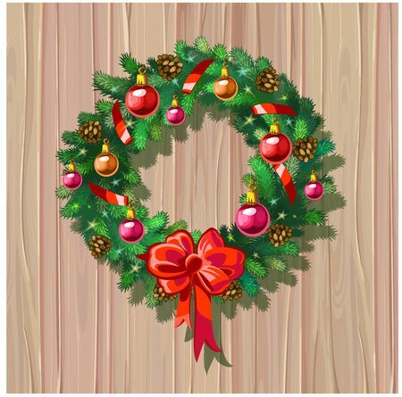 Vector Christmas wreath with decorations on wooden background