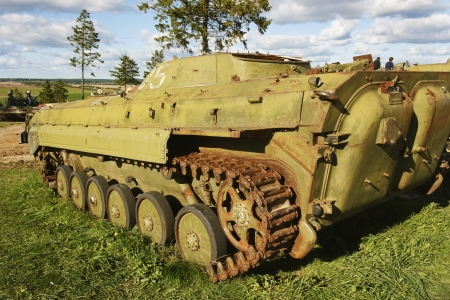 Russian infantry combat vehicle waiting their turn for restoration at the site of the museum