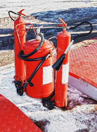 extinguishers: Fire extinguishers at gas station  Vitebsk  Belarus  Febriary 2013