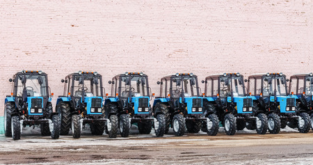Some tractors in stock  Winter  Belarus  Vitebsk  2013