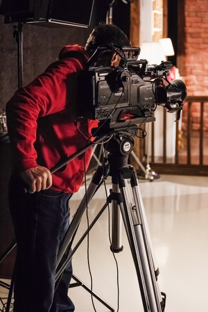 The video operator in the course of shooting of the evening television show \Evening Vitebsk\. 10.12.2014.