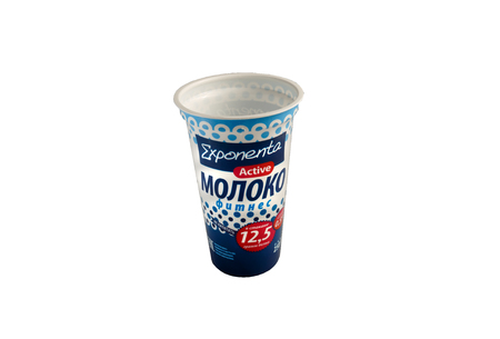 Example of design of packing for sour cream in a plastic glass.