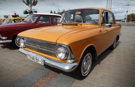 Yellow Moskvitch 412 Volga  at exibition of vintage cars. Summer. Belarus. Vitebsk. 2017.