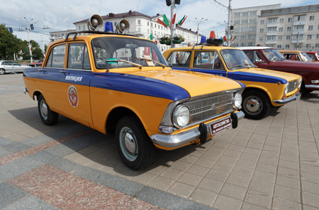 Police Moskvitch 412 Volga  at exibition of vintage cars. Summer. Belarus. Vitebsk. 2017.