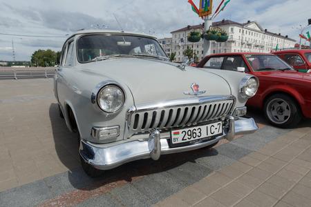 xx century: White GAZ M21 Volga  at exibition of vintage cars. Summer. Belarus. Vitebsk. 2017.