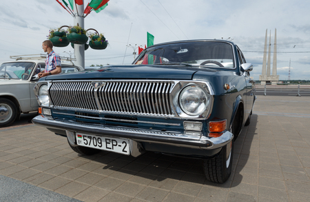Black GAZ M24 Volga  at exibition of vintage cars. Summer. Belarus. Vitebsk. 2017.