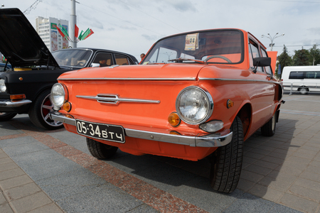 Red  ZAZ 966 Zaporozhets at exibition of vintage cars. Summer. Belarus. Vitebsk. 2017. Editorial