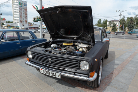 Black GAZ M21 Volga  at exibition of vintage cars. Summer. Belarus. Vitebsk. 2017.
