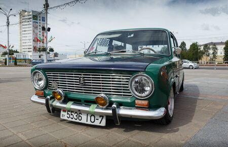 Compact car VAZ 2102 at exibition of vintage cars. Summer. Belarus. Vitebsk. 2017. Editorial