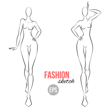 Women\'s Figure Fashion Sketch. Template For Designers Of Clothes ...