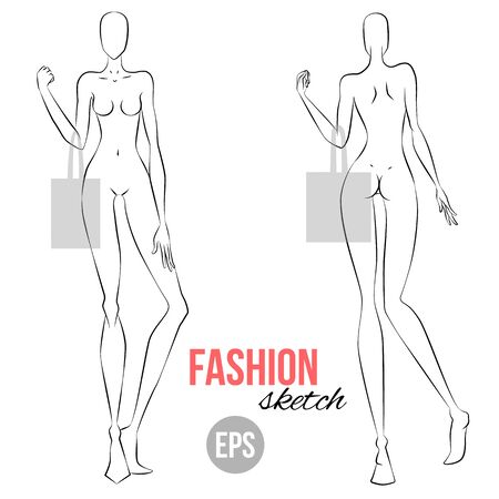 Vector Outline Girl Model Template For Fashion Sketching ...