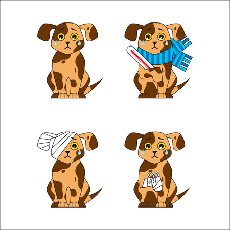 Set of injured and sick dog. Bandaged leg and head, disease. Cartoon sad puppy. Veterinary icons. Vector illustration.