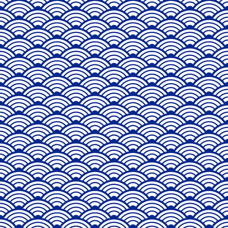 Japans Water Ornament.Traditional Japanese Seamless Pattern With Waves Ornament