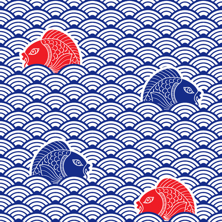 Japanese traditional pattern with catfish and waves. Blue, res and white colors. Nautical background. Ceramic ornament. Vector art Çizim